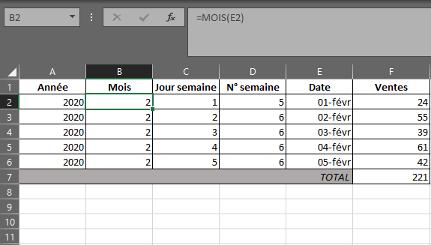 Fonction MOIS dans Excel