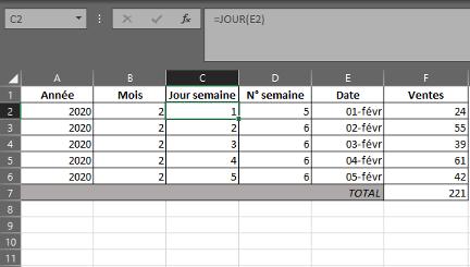 Fonction JOUR dans Excel