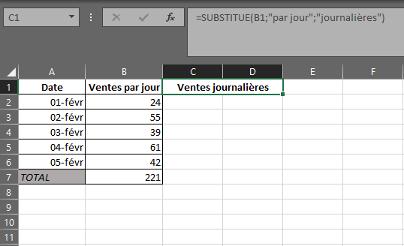 Fonction SUBSTITUE dans Excel