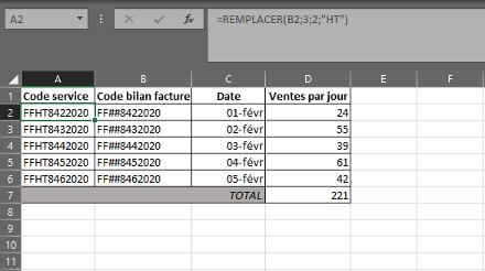 Fonction REMPLACER dans Excel