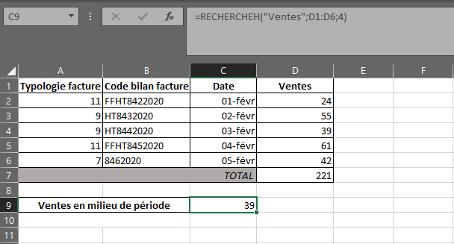 Fonction RECHERCHEH dans Excel