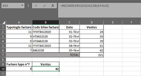 Fonction RECHERCHEV dans Excel