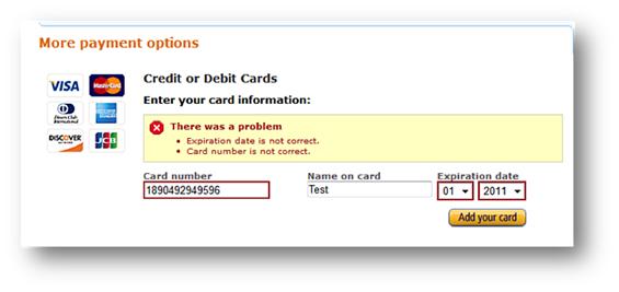 Message d'erreur sur Amazon