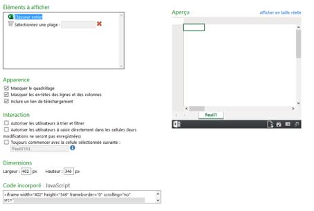Modification d'incorporation d'un fichier Excel Online