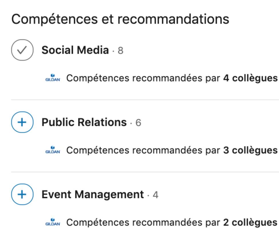 compétences et recommandations sur LinkedIn