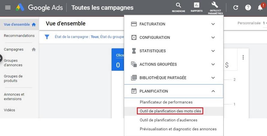 interface Google Ads toutes les campagnes