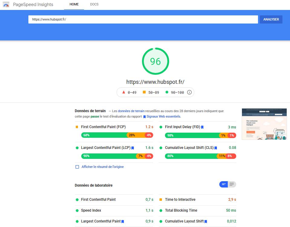 pagespeed insights pour le site de HubSpot