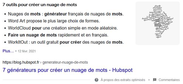 featured snippet liste à puces