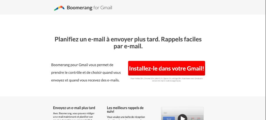 Boomerang outil pour programmer un mail