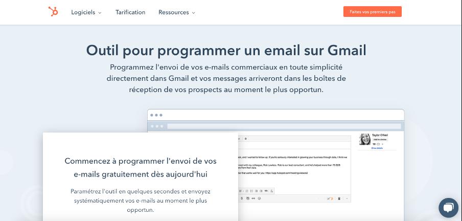 outil HubSpot pour programmer un mail sur Gmail