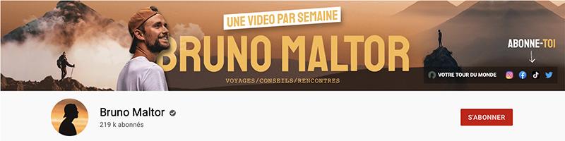 exemple de bannière YouTube sur la chaîne de Bruno Maltor