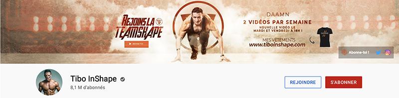 exemple de bannière YouTube sur la chaîne de Tibo InShape