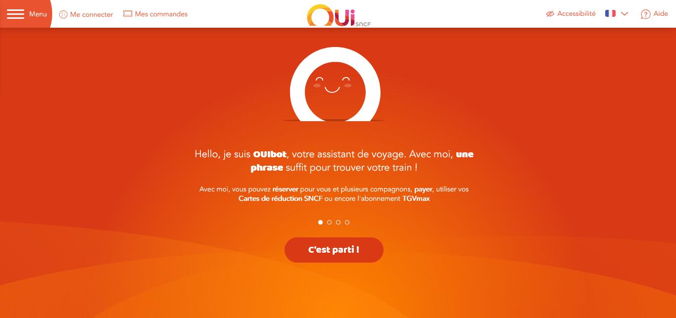 capture écran de ouibot chatbot de la SNCF