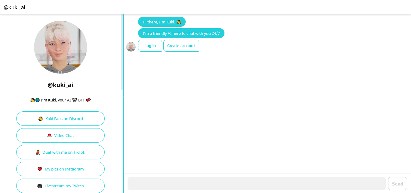 capture écran du chatbot kuki