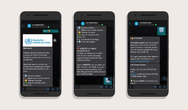 capture écrant chatbot whatsapp WHO Health Alert