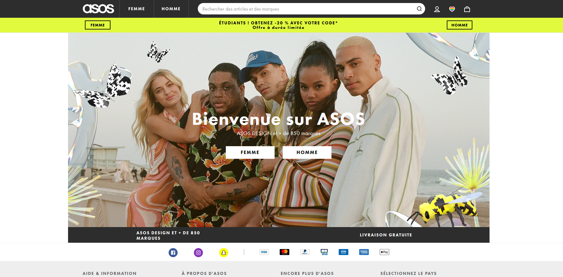 exemple asos page d'accueil