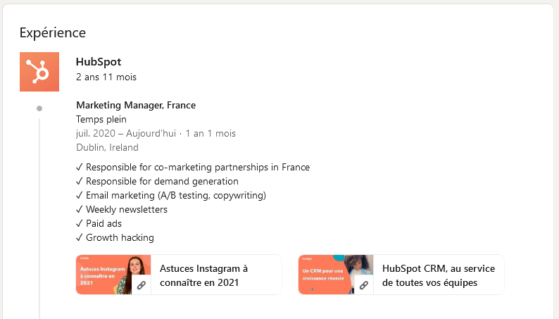 exemple d'un profil linkedin avec contenus dans le CV