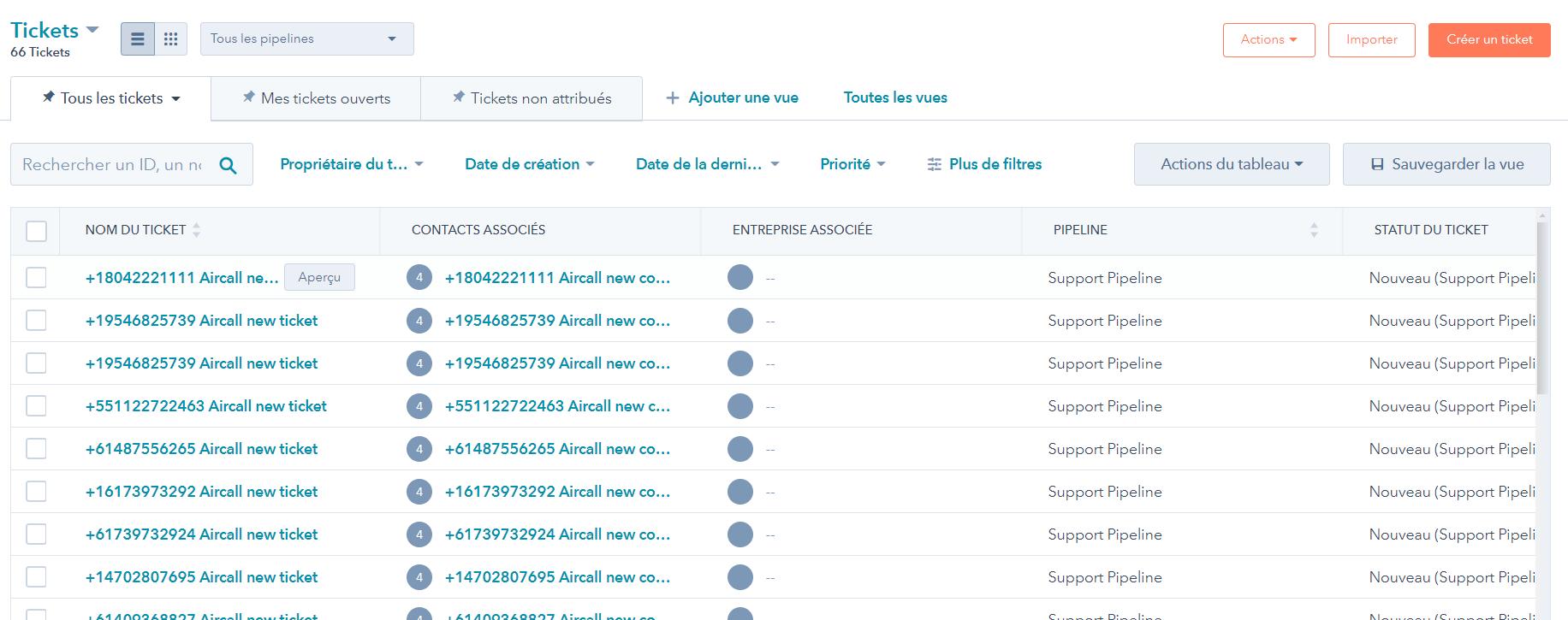 interface du logiciel helpdesk de HubSpot