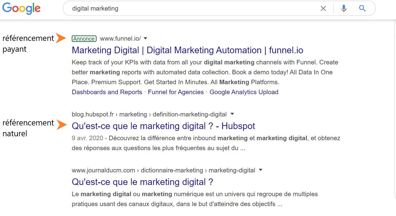 "recherche google pour ""digital marketing"""