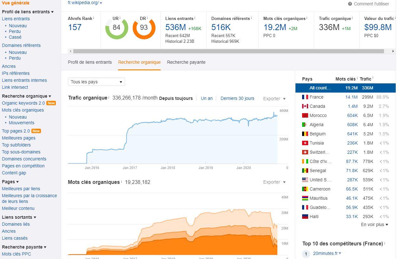trafic et mots clés dans Site Explorer